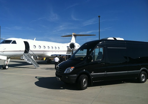 private jet and limo van